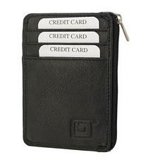 Black Mini Leather RFID Wallet