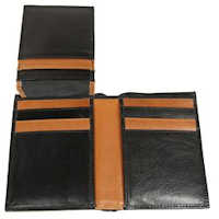 Black/Brown Vertical Two Tone 12 Slot Wallet