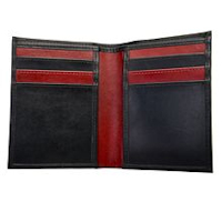 Black/Burgundy Vertical Two Tone 6 slot Wallet