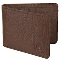 Brown Nylon Bi-fold 6-slot Wallet